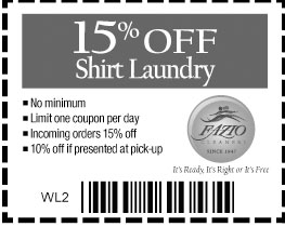 Shirt laundry coupons