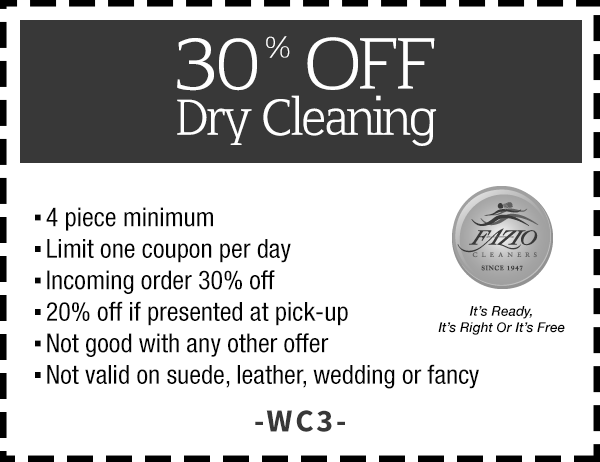 picture regarding Printable Dry Cleaning Coupons named Fazio Dry Cleansing, Blouse Laundry Improvements Coupon codes